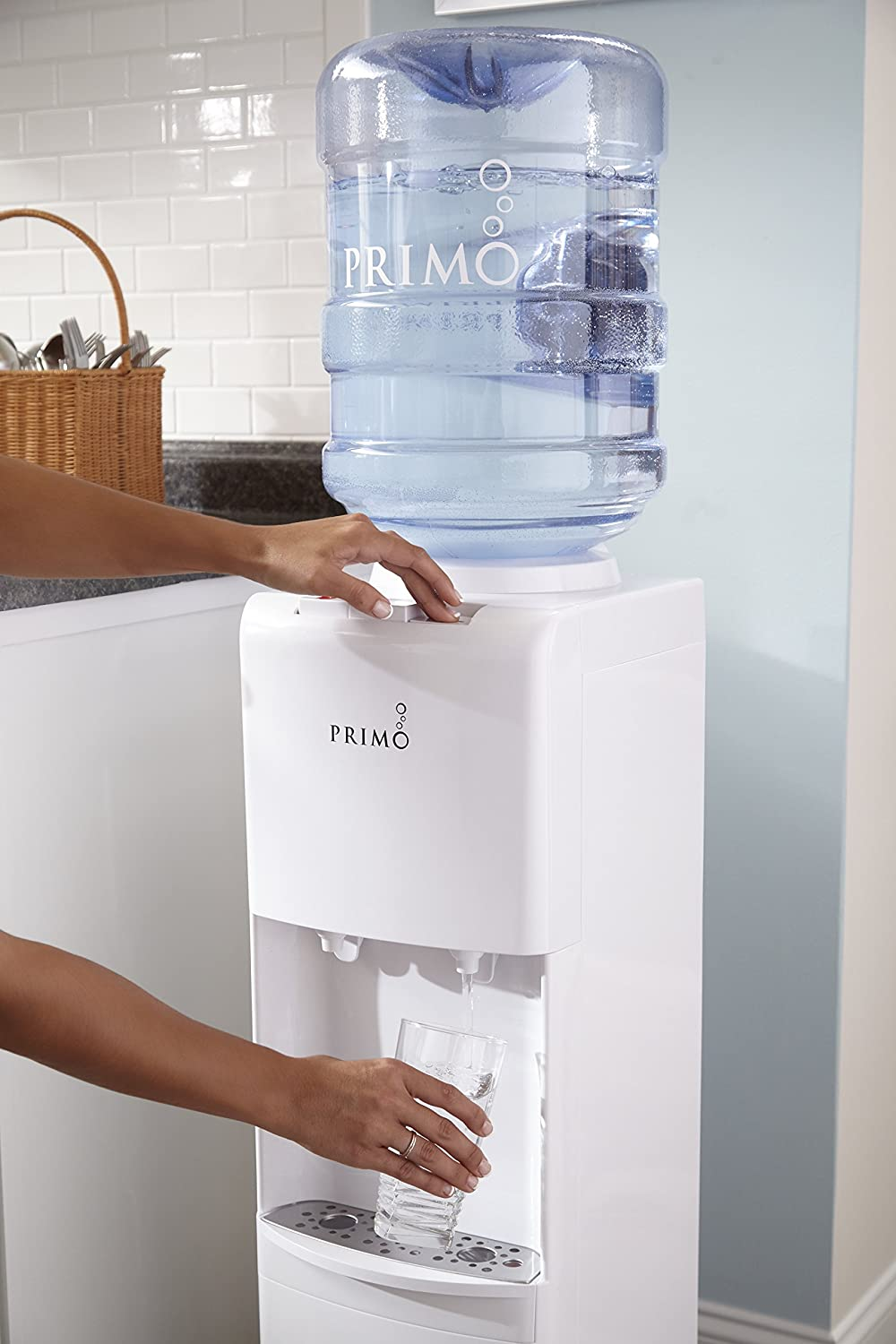 Primo White 2 Spout Top Load Hot and Cold Water Cooler Dispenser