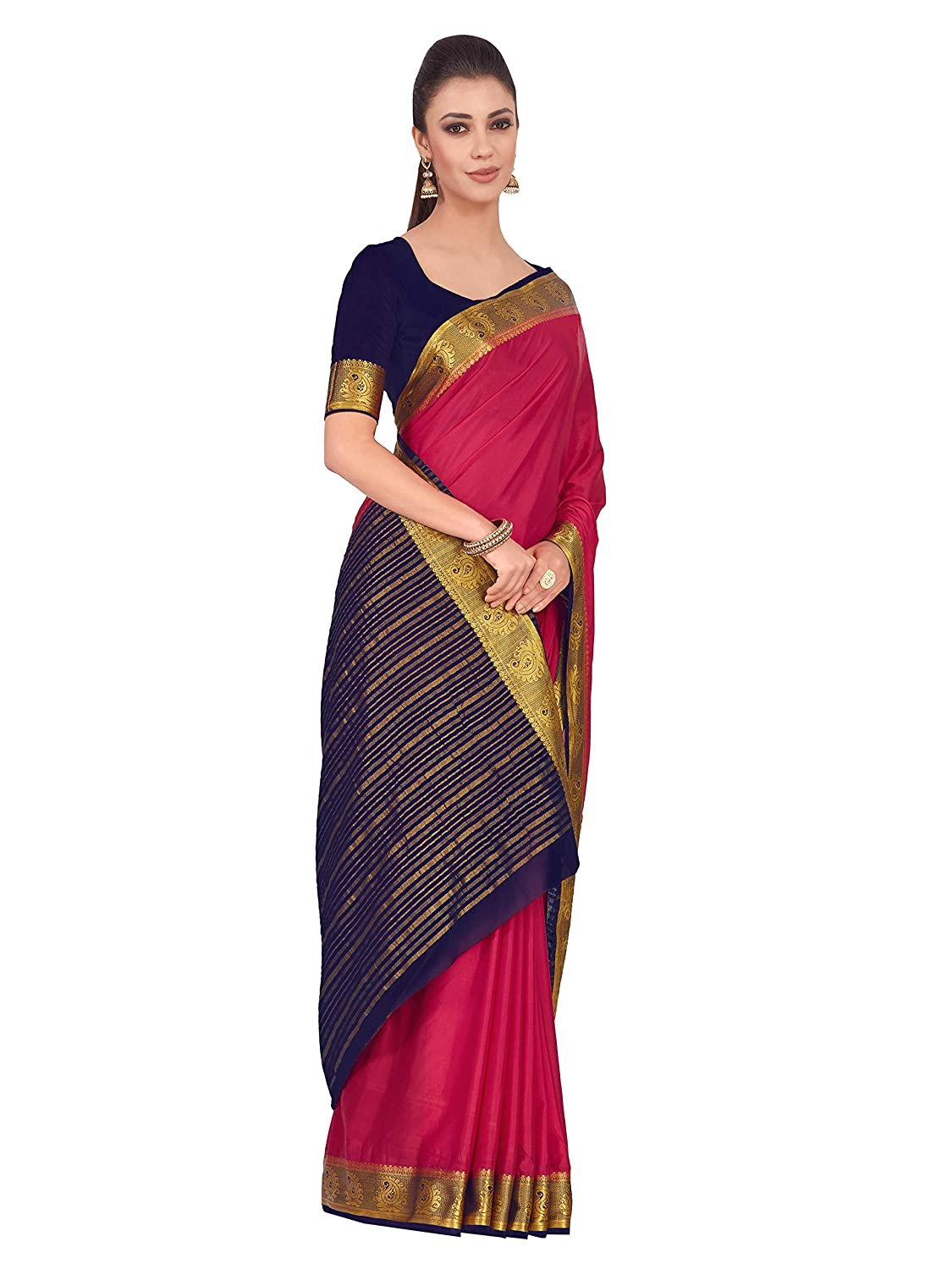 e69f5b0f0815df Mimosa Art Crape silk saree Kanjivarm style With Contrast Blouse Color:  Pink (4320-2262-2D-STRW-NVY): Amazon.in: Clothing & Accessories