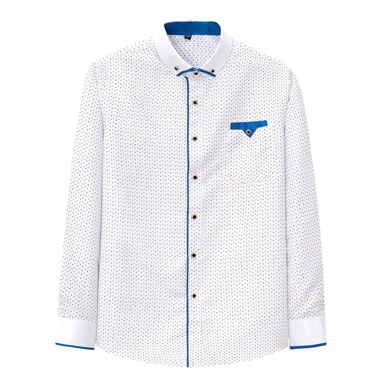 Printed Plaid Polka Dot Men Shirt Long-Sleeved Casual Shirts Slim Fit Male
