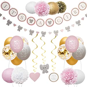 Elephant Baby Shower Decorations for Girl by Baby Nest Designs - Pink Baby Shower Backdrop with Balloons, Its a Girl Banner, Paper Hanging Decorations and More Party Decor/Gender Reveal Decorations