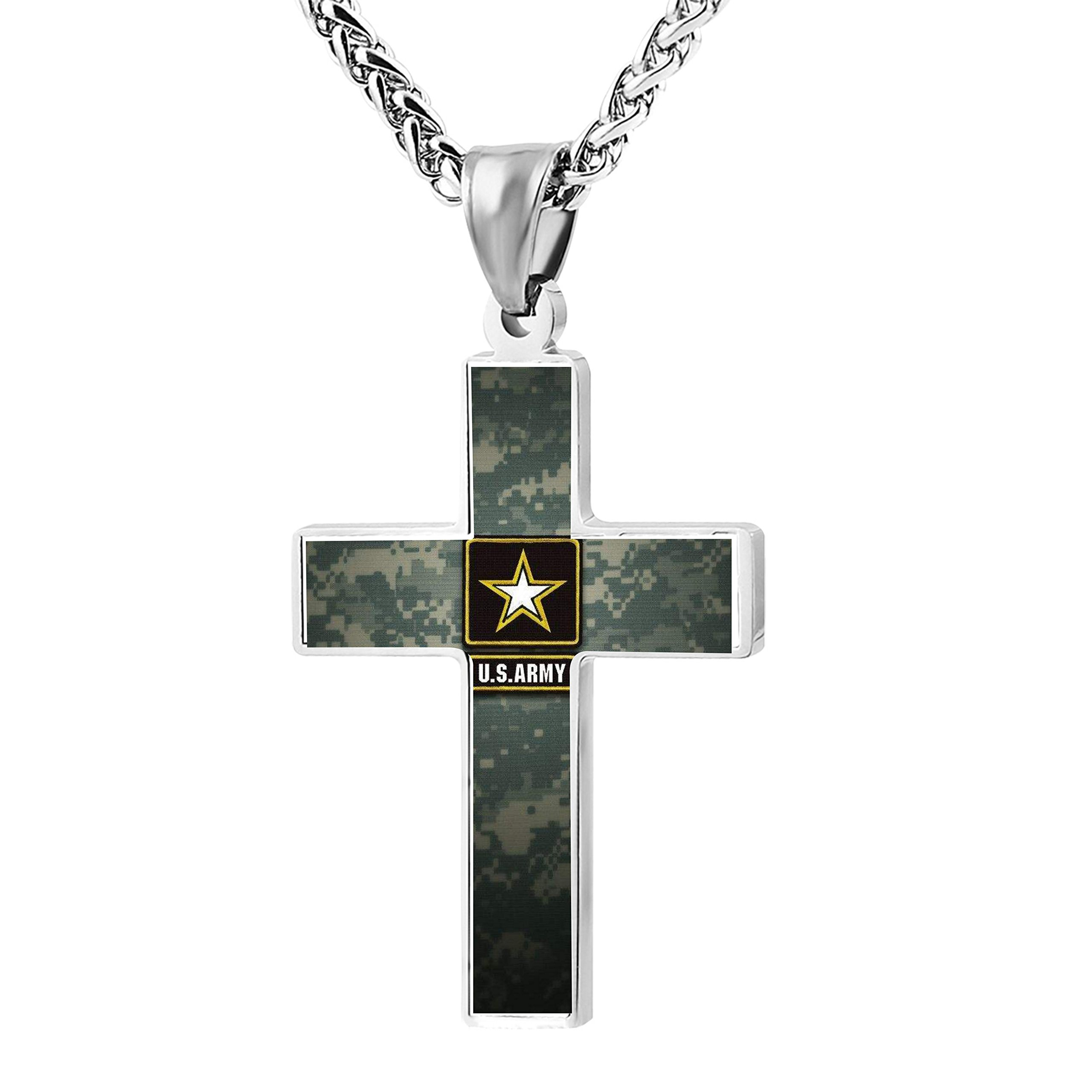 Patriotic Cross Army Medal Religious Lord's Prayer Jewelry Pendant Necklace