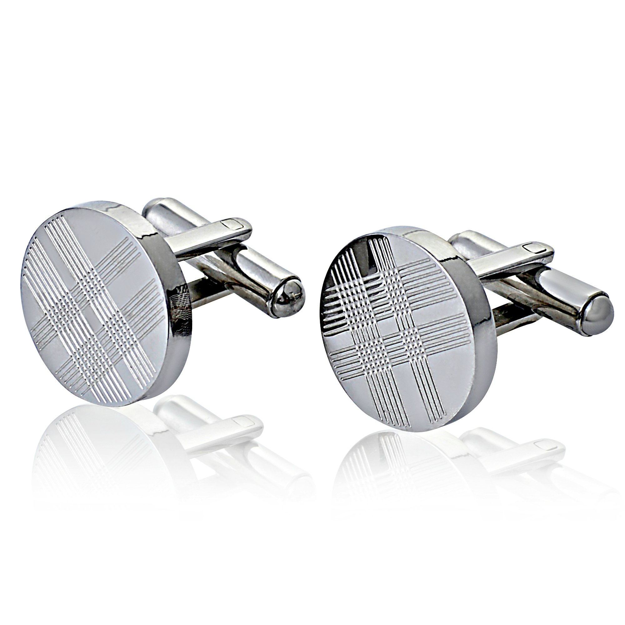 Jemdesign's CuffLink Round Stainless Steel With Tartan Pattern For Men's Accessories French Cuff Dress Shirt Links Wedding Business Anniversary Cuff link Set