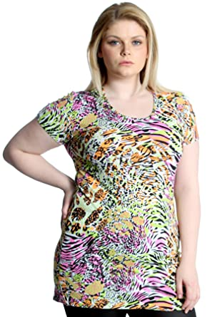 4375864d9b511 New Womens Top Plus Size Ladies Neon Summer Print Tunic Party T-Shirt  Nouvelle Collection  Amazon.co.uk  Clothing
