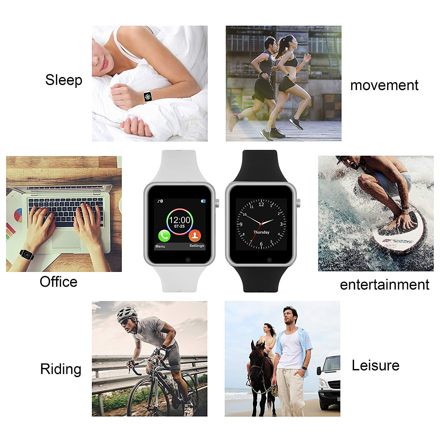 Smart Watch for Android Phones,SUNETLINK 2018 Bluetooth Smartwatch Android Phone Watch,Anti-lost Touch Screen Bluetooth Smart Watch with Camera Compatible IOS iphone X 8 7 6 6S 5 plus Android