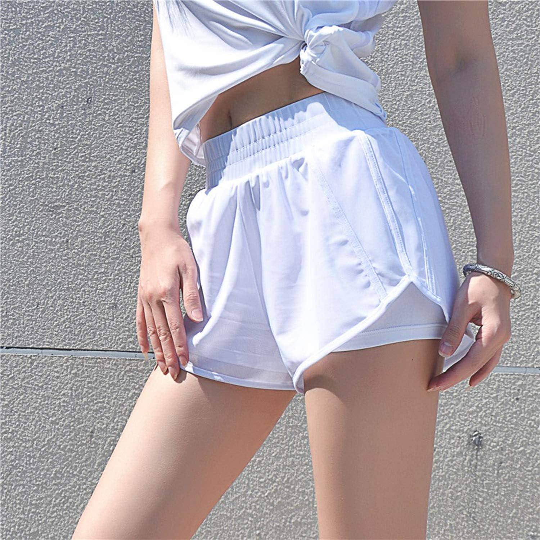 UELNncm Short de course à pied double couche pour femme Dk1174 Blanc