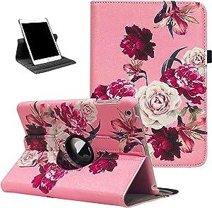 iPad Mini 1/2/3 Case - 360 Degree Rotating Stand Case Cover with Auto Sleep/Wake Feature for iPad Mini 1/iPad Mini 2/iPad Mini 3 (Pink Peonies)