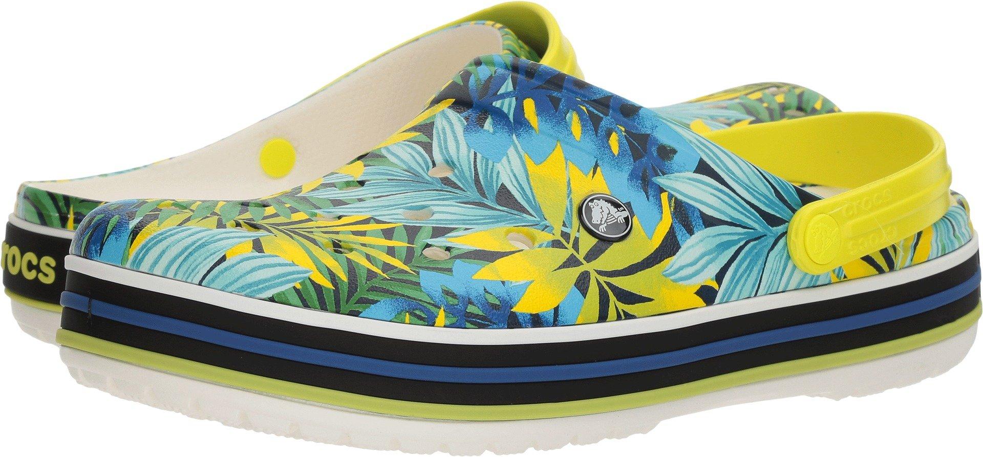 Crocs Crocband Tropical GRPH V Clog, White/Tennis Ball Green, 7 US Men/ 9 US Women M US