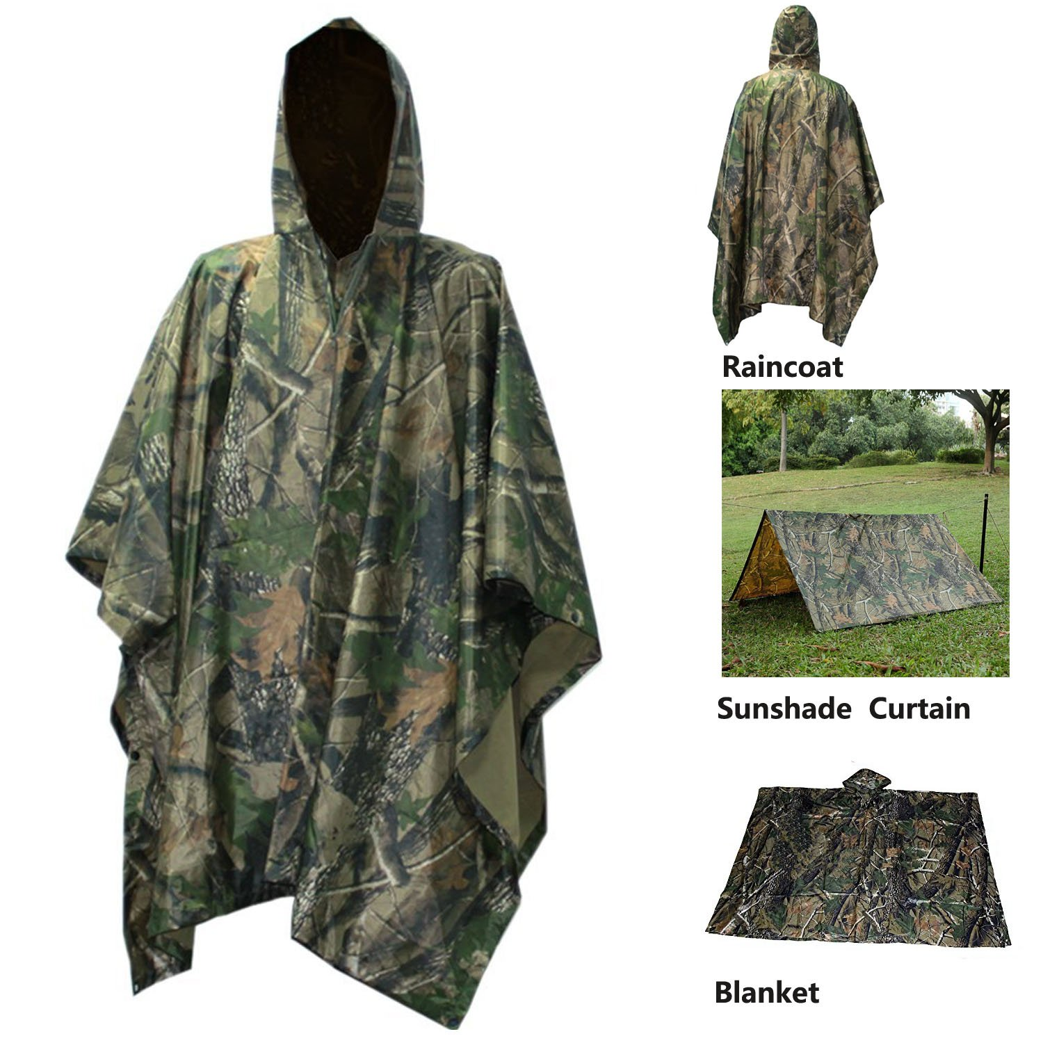 Waterproof Raincoat Rain Poncho Lightweight RipStop Hooded Picnic MatRain Fly backpack cover (Maple Camouflage) by A-MORE