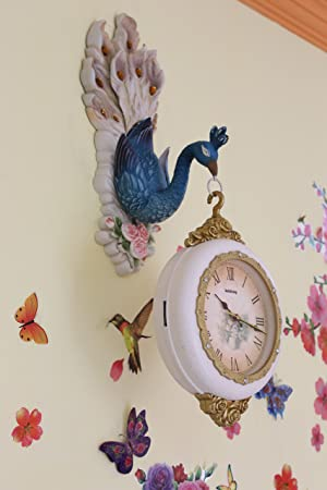 FunkyTradition Royal Multicolor Dual Hanging Peacock Wall Clock  Wall Watch   Wall Clock for Home Office Decor and Gifts 75 CM Tall
