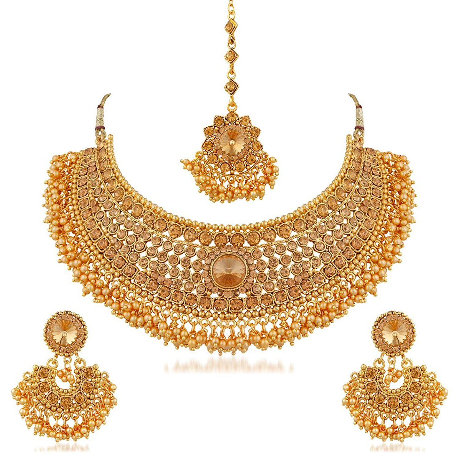 sets detail pearl south set one bridal gold product indian buy plated style royal wedding choker gram jewellery
