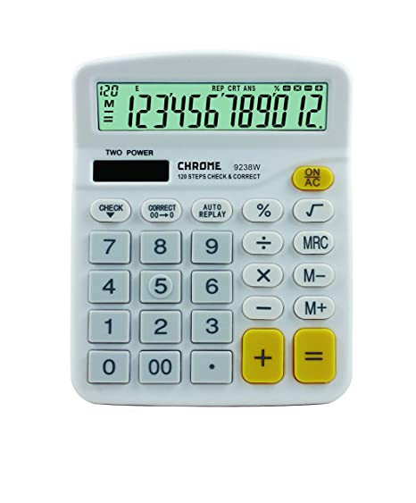 Chrome 9238W Check & Correct Basic Calculator (12 Digit)