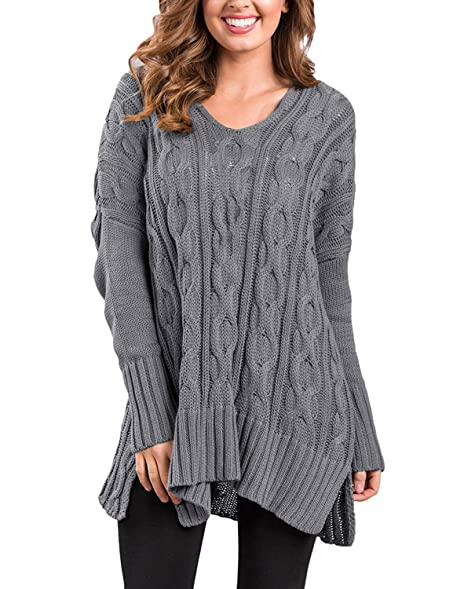 Grapent Womens Cable Knit V Neck Long Sleeve Casual Loose Sweater