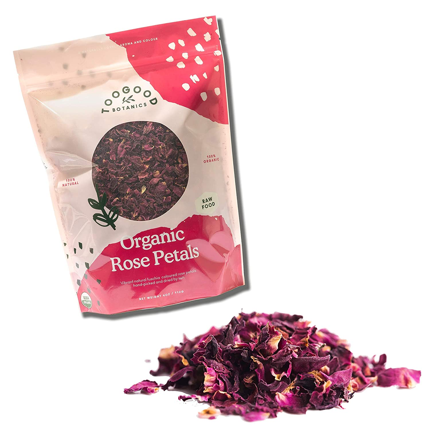 Organic Dried Rose Petals, non-GMO, Culinary-grade [Certified Organic by Pro-Cert] (4 ounce)