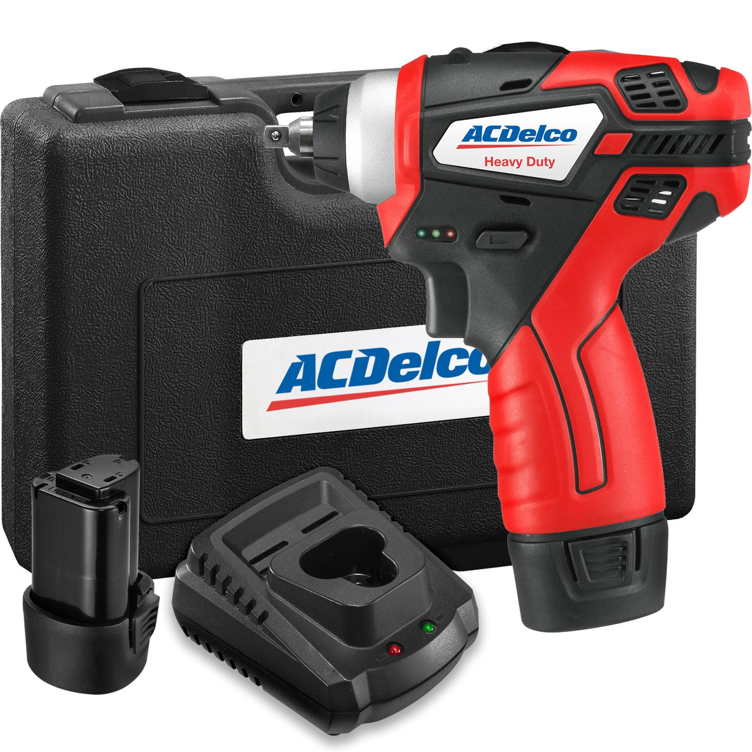 ACDelco 1/4'' Power Impact Wrench Cordless Li-ion 12V Max Compact Tool kit with Charger, 2 Batteries, and Carrying Case, G12 Series - ARI12104-2