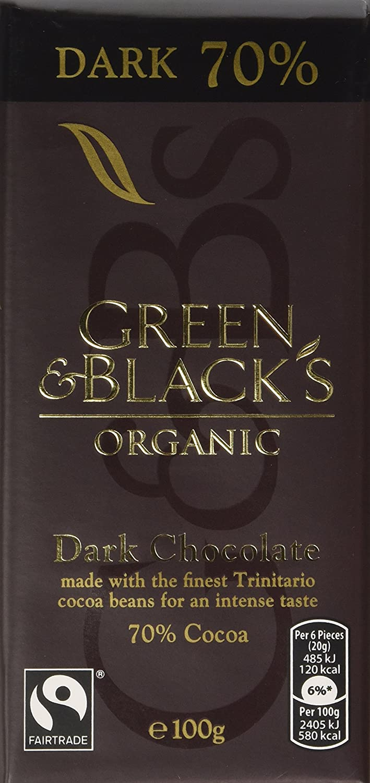 Green Blacks Organic 70 Percent Dark Chocolate Bar 100 G Pack Of 5