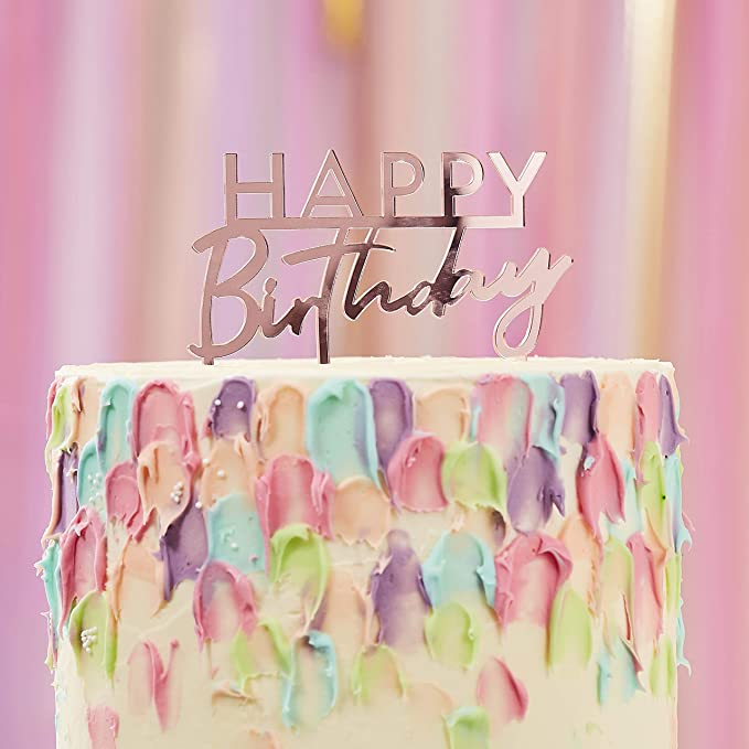 Details about  /Acrylic Matte Pink Geometric Round Happy Birthday Cake Topper