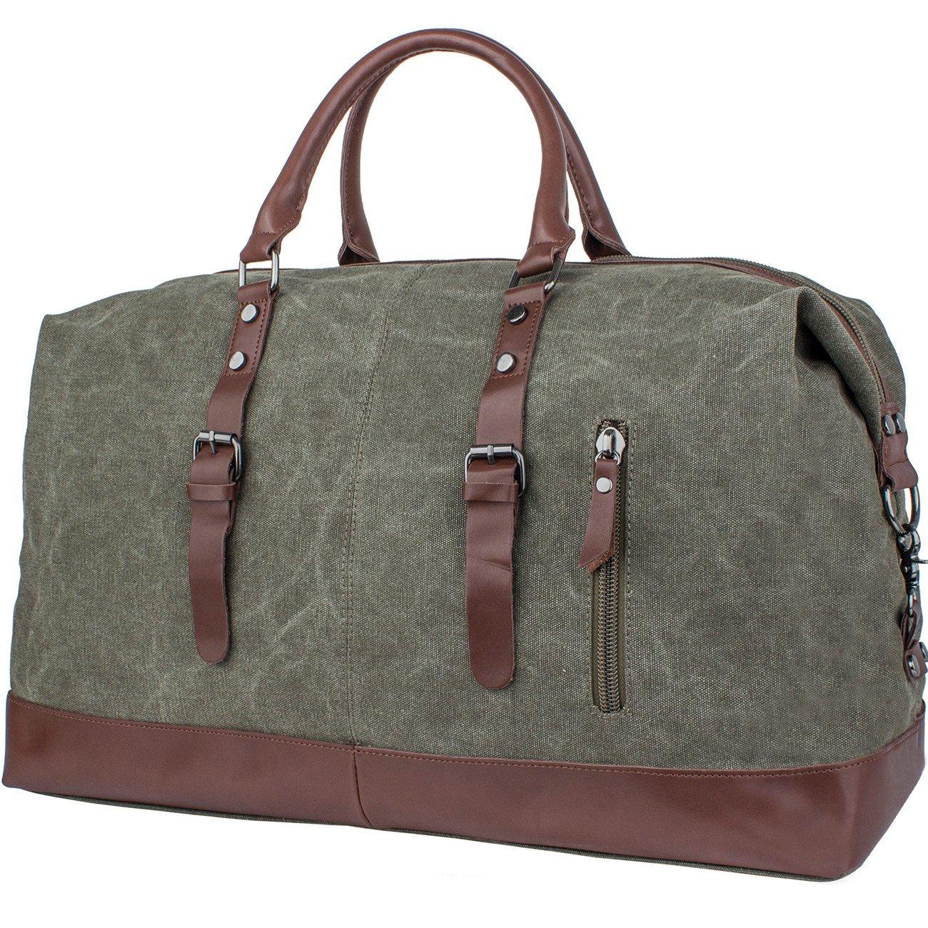 Leaper Canvas Leather Trim Shoulder Bag/Tote Handbag/Cross-body Bag/ Messenger Bag/Duffel Travel Bag (Army Green) Fifth Season BP3072