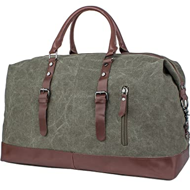 Amazon.com | Leaper Oversized Canvas Travel Duffel Weekend Bag ...