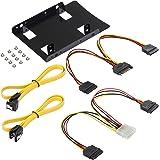 Poppstar - Kit di montaggio e set cavo S-ATA impostati dischi interni SSD-HDD 2,5 pollici con intelaiatura, 1x cavo Y Stom, 1x dati Y 2x Sata 3 (spine 1x diritta-diritta, 1x diritta-angolata)