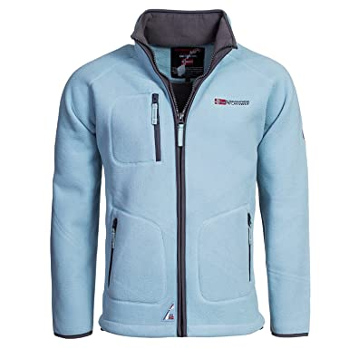 37ac4ccb2f66 Herren Fleece Jacke Geographical Norway Trekking ice blau Gr. M  Amazon.de   Bekleidung