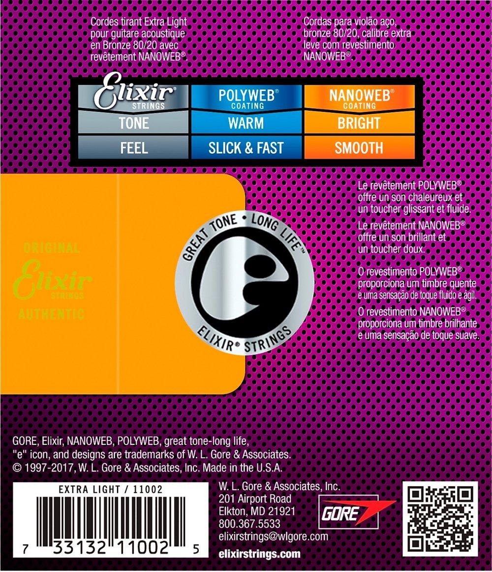 Elixir 11002 - Juego de cuerdas para guitarra acústica de bronce.010-0.047: Amazon.es: Instrumentos musicales