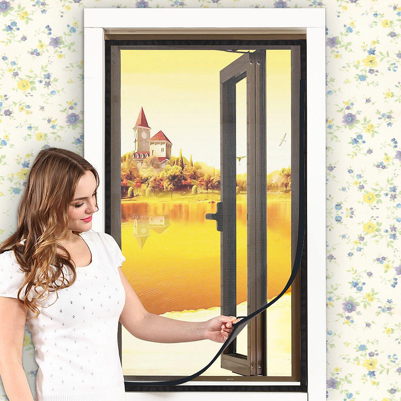 Window Screen—DIY Customizable Adjustable Screen Window Fiber Glass Mesh Replacement Mosquito Net with Sticky Hook & Loop (DIY Screen UP to 39'' x 31'' Max)