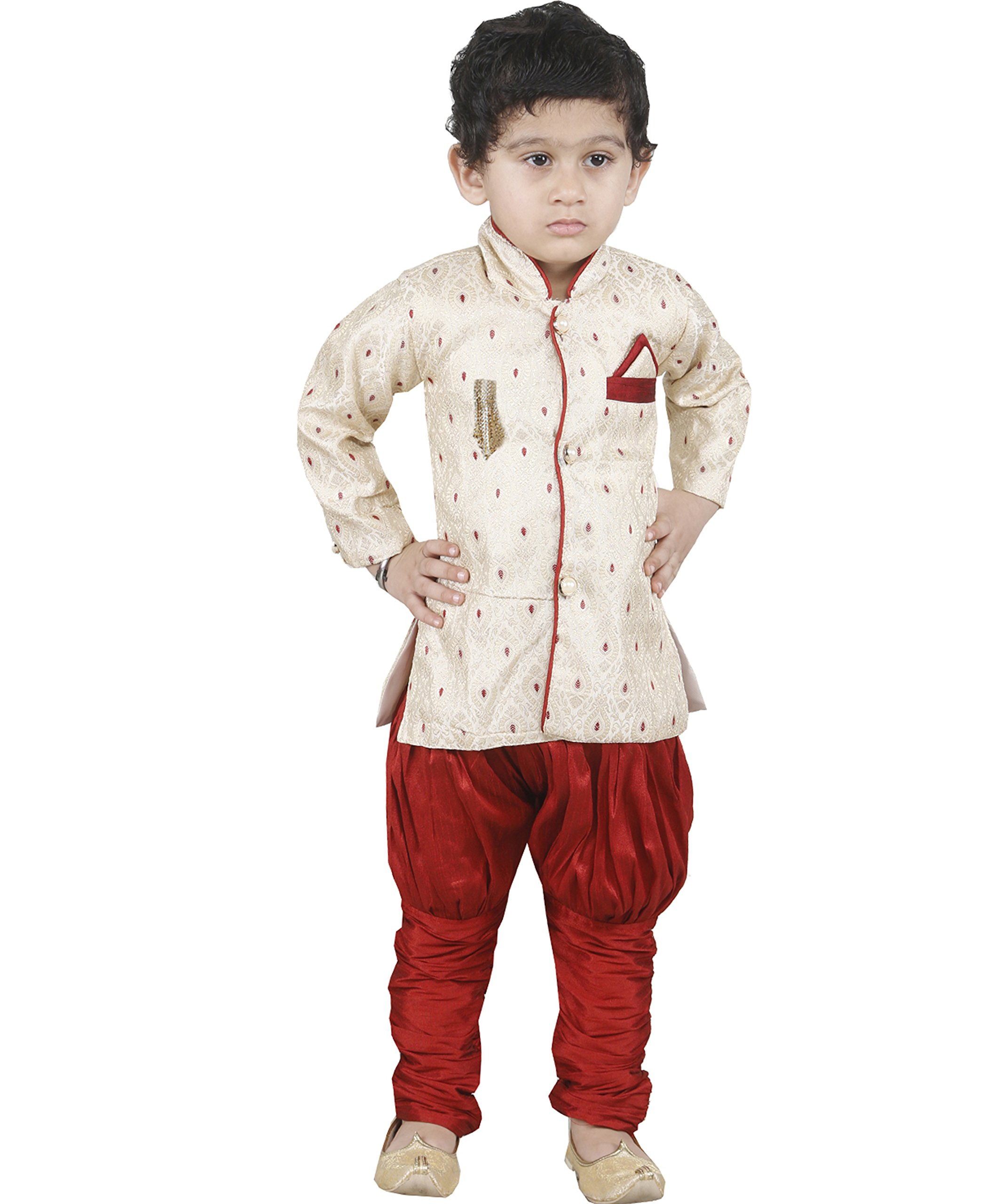 JBN Creation Boys Beige Banarasi Cotton Silk Kurta Pyjama With Jodhpuri Breeches (Size: 6-12 Months)