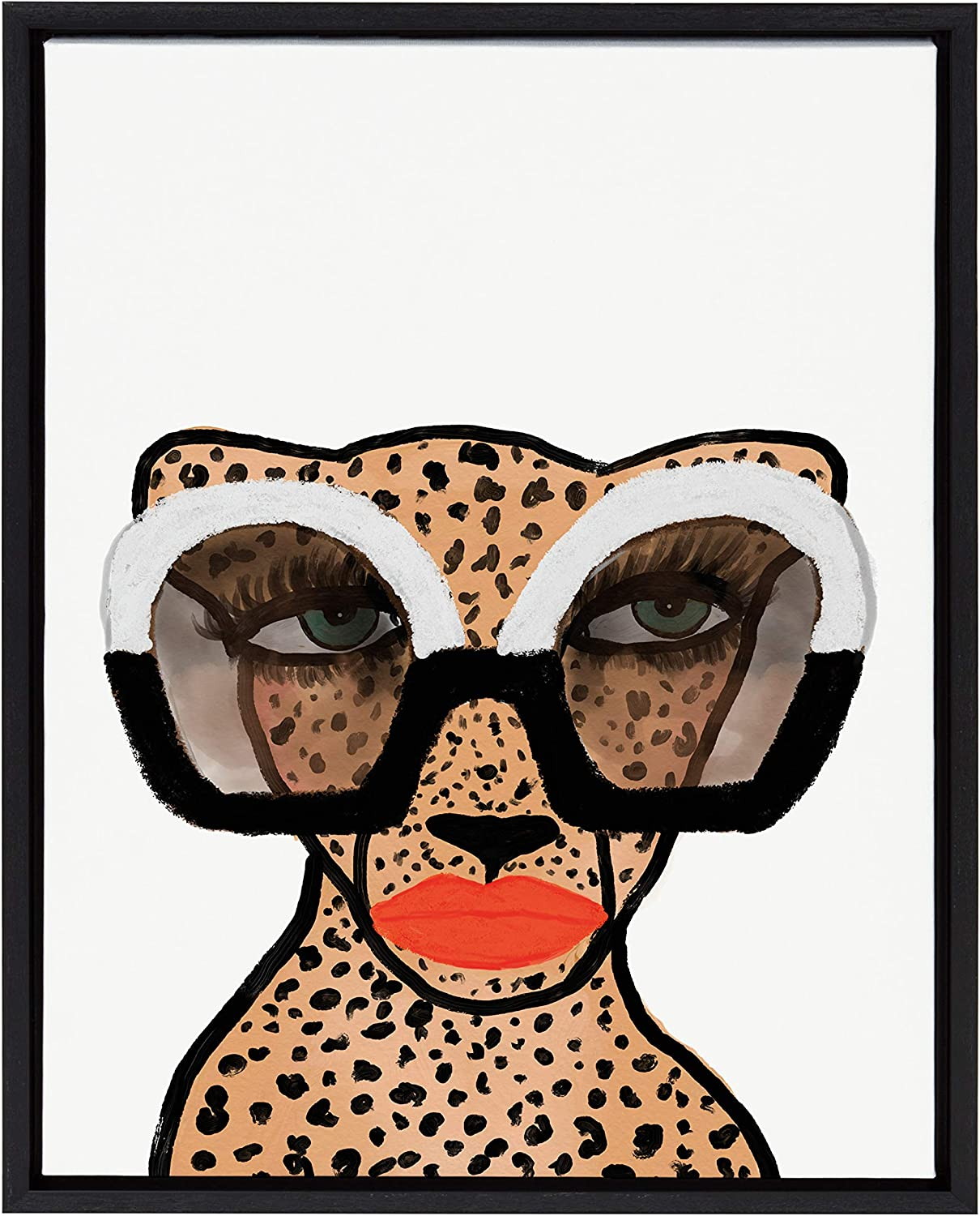 Kate and Laurel Sylvie Cheetah 4 Framed Canvas Wall Art by Kendra Dandy of Bouffants and Broken Hearts, 18x24 Black, Modern Animal Art Decor for Wall