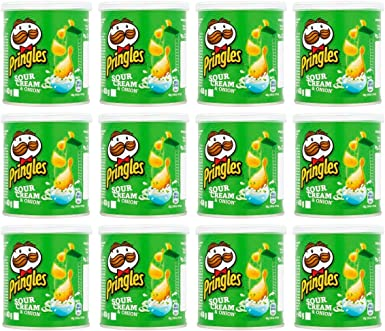 Pringles Sour Cream and Onion Crisps 40 gr. - [Pack 12]: Amazon.es ...