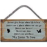 """Gigglewick Gifts - Targa in legno da parete, motivo """"Sisters Give Hope When Life Is Low"""", scritta in stile shabby chic, divertente idea regalo [in lingua inglese]"""