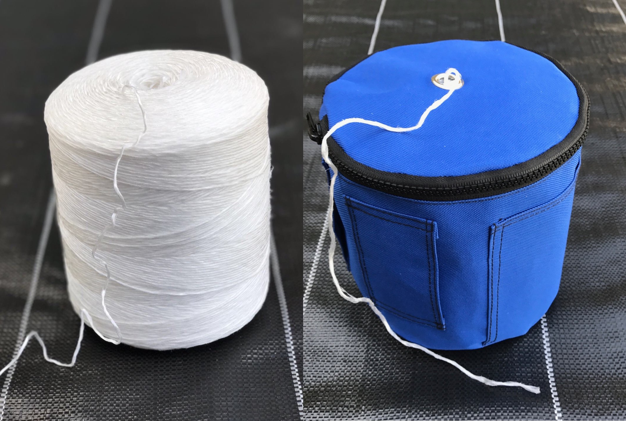 Bundle: 6300 ft Polypropylene Tomato Twine + Reusable Twine Dispenser Bag for Garden Twine String (2 Rolls Twine + 1 Blue Twine Bag) by Bluefire Direct