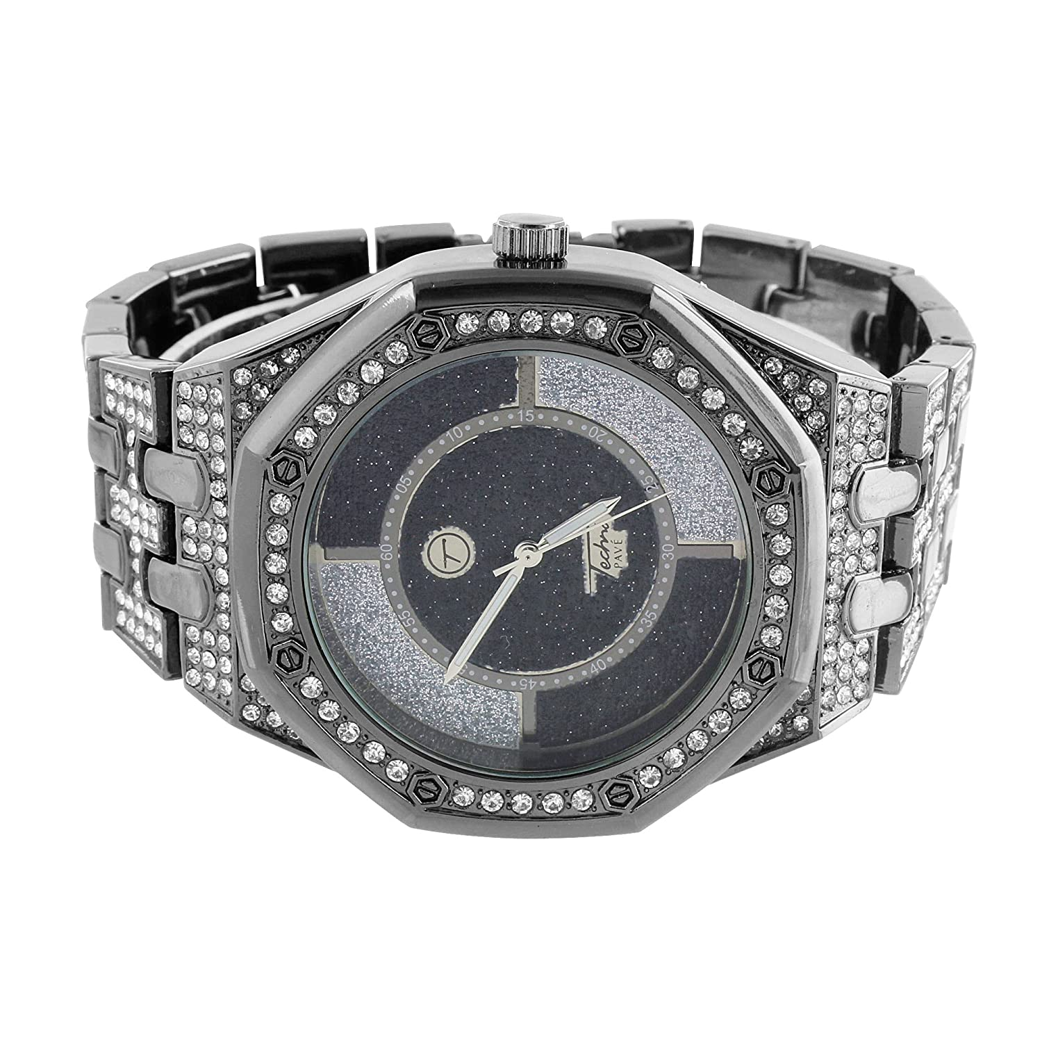 bb94b4c65c271 Mens Octagon Face Watch Iced Out Simulated Diamonds Black AP-01 ...
