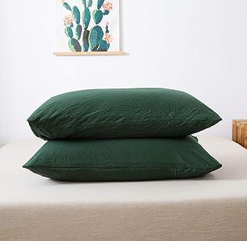 Amazon.com: Juego de 2 fundas de almohada de 100 % algodón ...