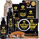 Ceenwes Upgraded Beard Grooming Kit with Beard Conditioner ,Beard Oil, Beard Brush, Beard Comb, Beard Balm, Beard Shampoo, Be