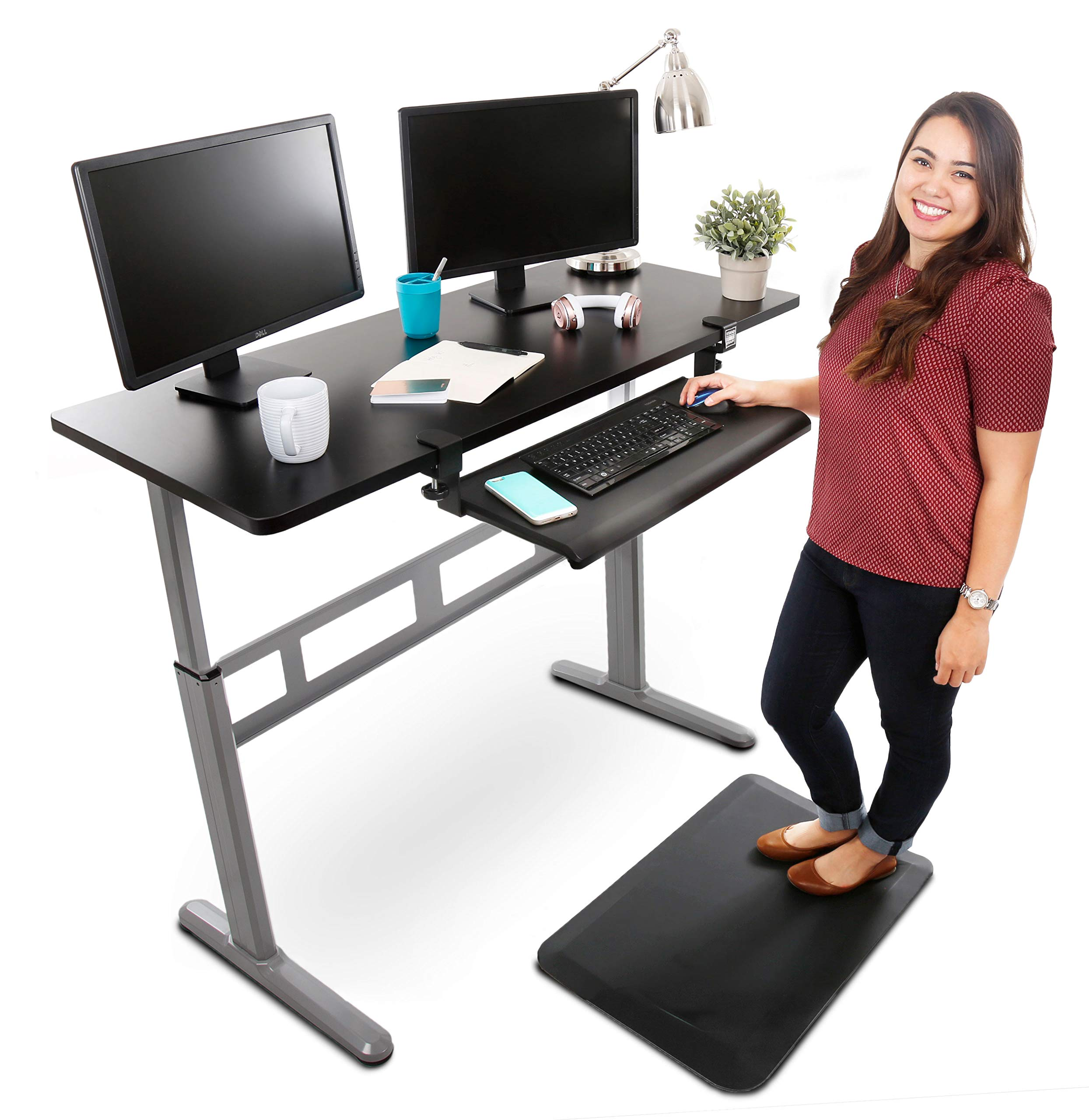Stand Steady Tranzendesk 55 Inch Standing Desk with Large Clamp On Keyboard Tray - Easy Crank Stand Desk and Attachable Under Desk Tray by Stand Steady