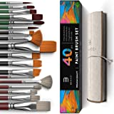 Easy Grip 40 Piece Artist Paint Brush Set with Storage Case - Includes Round and Flat Art Brushes with Hog, Pony, and…