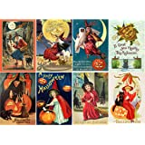 stickers 8pics 25x35ea vintage halloween poster witch flonz - Vintage Halloween Witches