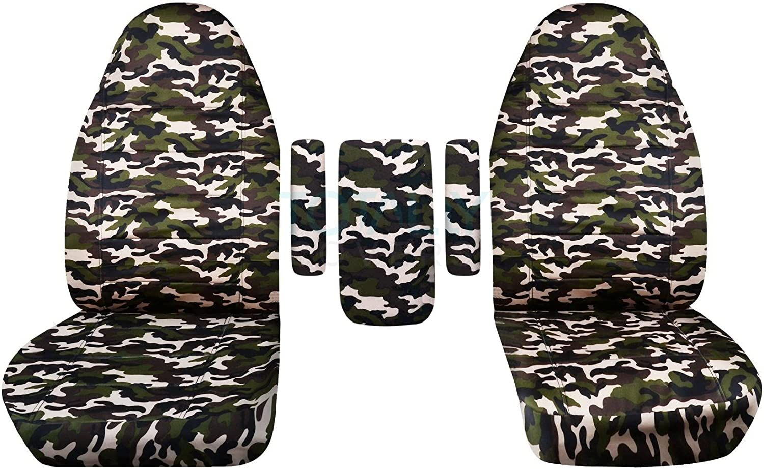 1999-2001 Ford F-150 F-250 F-350 Camo Truck Captains Chairs Seat Covers 3 Armrest Covers (One per Seat + Center): Gray Real Tree Camouflage (16 Prints) 2000 F-Series F150 F250 F350 Designcovers