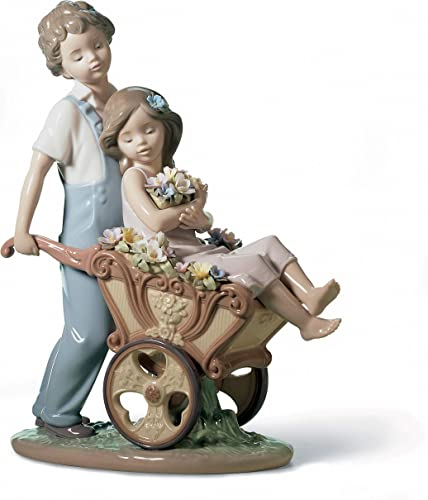 LLADR The Prettiest of All Couple Figurine. Porcelain Children with Flowers Figure.