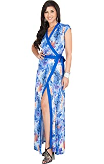 eb099b643 KOH KOH Womens Long Cap Sleeve Sexy Wrap Floral Print Summer Sundress Maxi  Dress