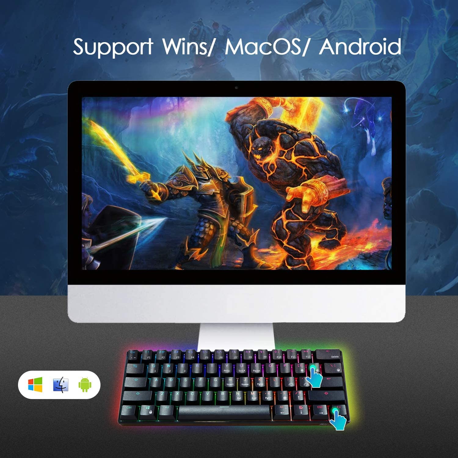 ROYAL KLUDGE RK RK61 Wired 60% Mechanical Gaming Keyboard RGB Ultra-Compact (Blue Switch) 7