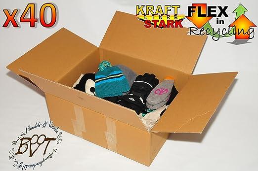 40 x Premium cartón de 62 cm x 40 cm x 23,5 cm – Paquete de Caja de cartón plegable (cartón, aprox. 60 x 40 cm apilable, manejable & Estable, cartón de
