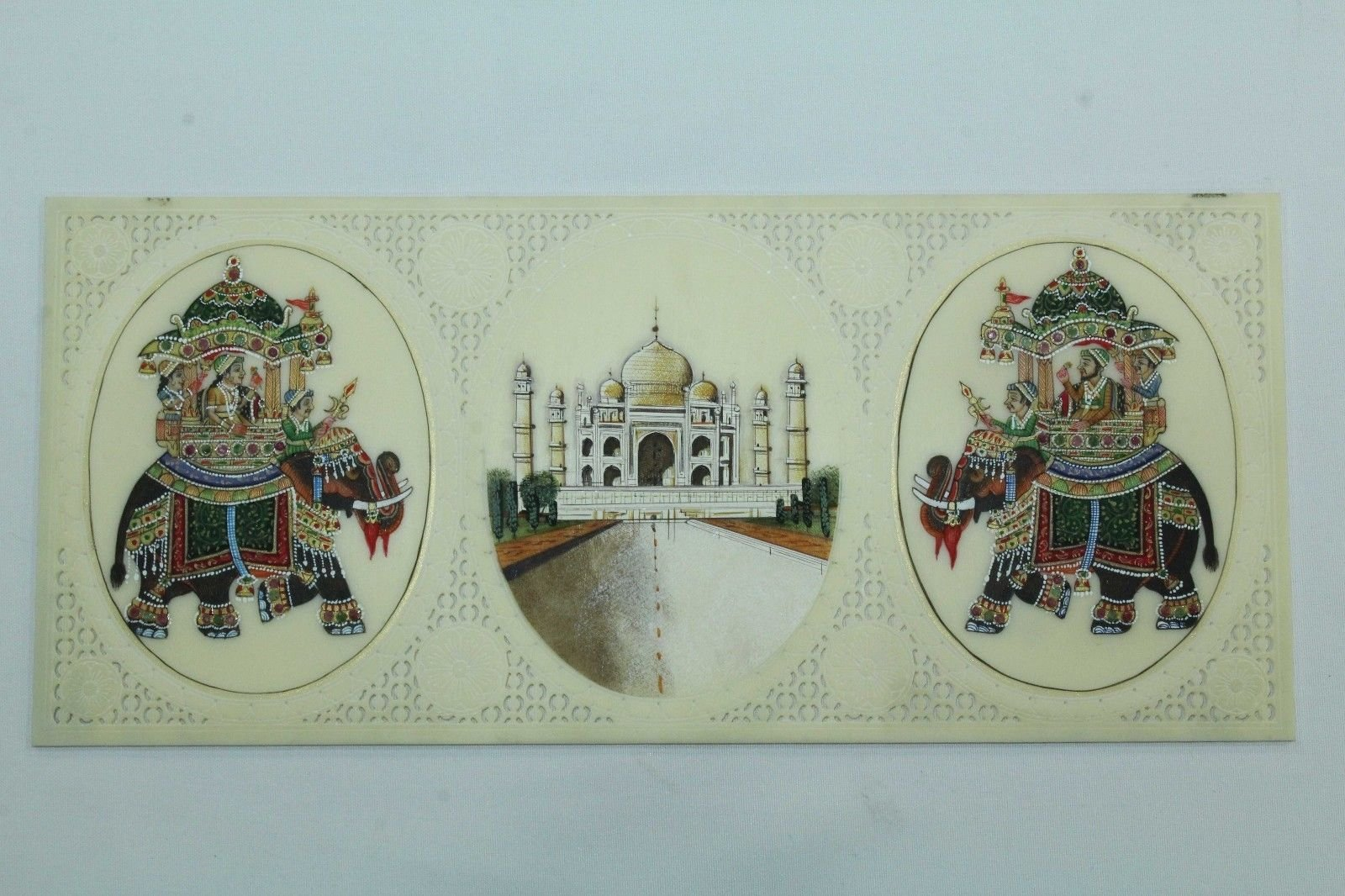 Rajasthan Gems Painting On Resin India Taj Mahal and Elephant with natural stones