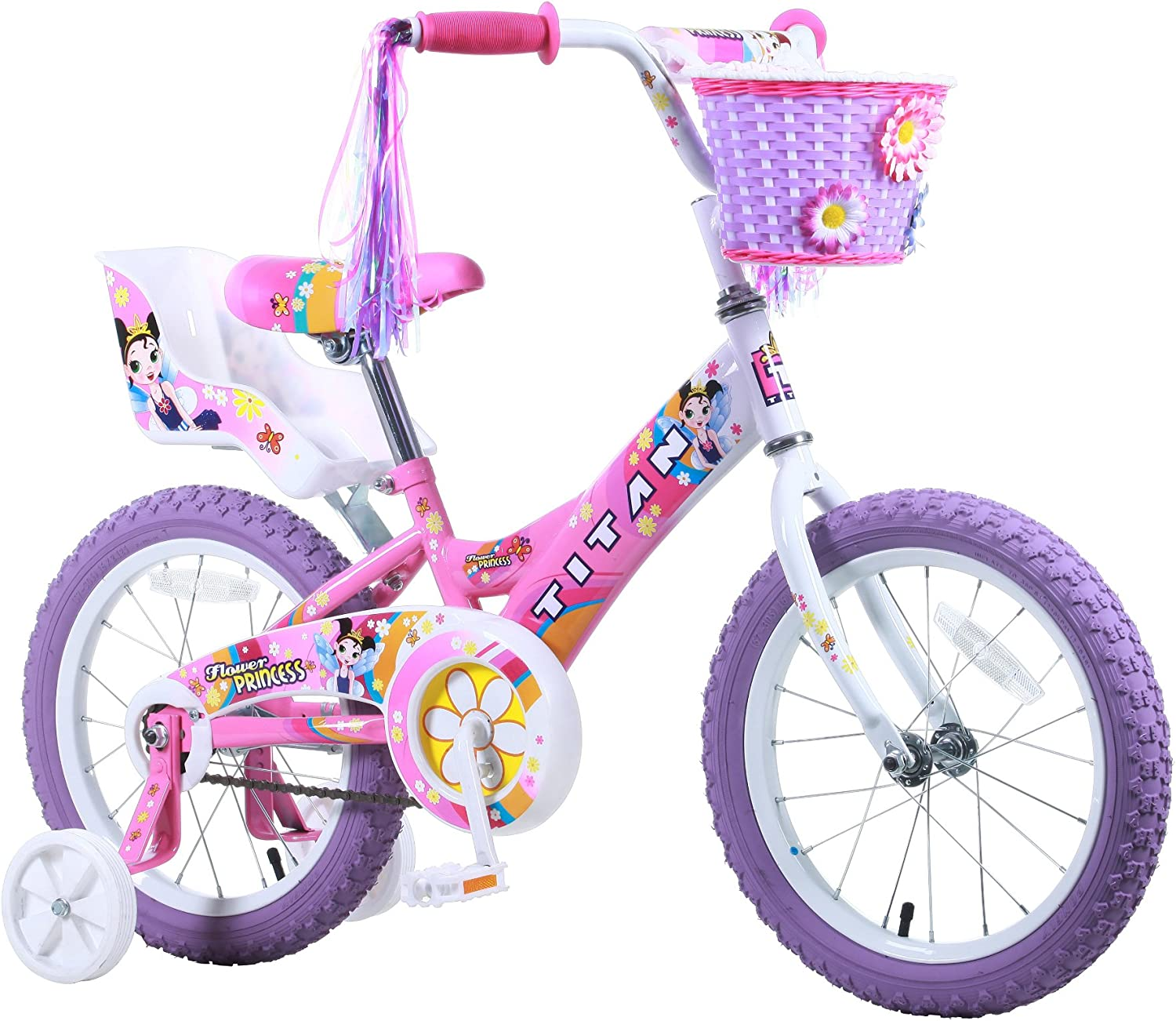 Titan Girl s Flower Princess BMX Bike, Pink, 16-Inch