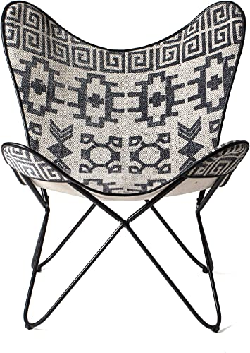MH London Butterfly Chair – Rug Fabric I Handmade, Solid Iron Frame I Industrial Lounge Chair I Comfortable Iconic Recliner I 32.3 x 28.75 x 25.15 – Massa