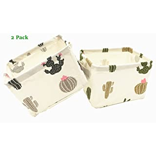 """Songsongstore [2-Pack] Small Canvas Fabric Foldable Organizer Storage Basket with Handles,Convenient for Nursery Babies Room & Shelves & Desks(7.8×6.3×5.5"""")(CACTUS)"""