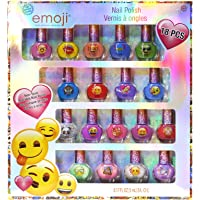 Townley Girl Emoji Super Sparkly Peel-Off Nail Polish Deluxe Present Set for Girls, 18 Colors