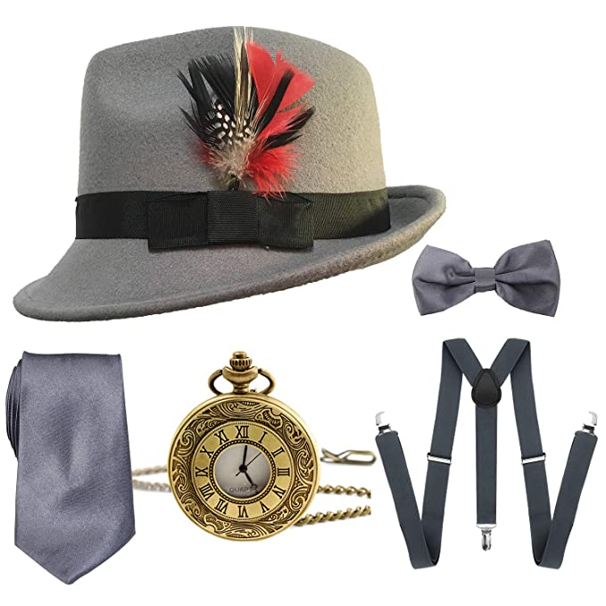 1920s Mens Accessories: Gloves, Spats, Pocket Watch, Collar Bar 1920s Mens Gatsby Costume AccessoriesManhattan Fedora Hat w/FeatherVintage Pocket WatchSuspendersPre Tied Bow TieTie $16.99 AT vintagedancer.com