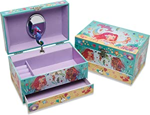 Lucy Locket - 'Magical Mermaid' Musical Jewelry Box for Children - Pink Glittery Kids Jewelry Box with Ring Holder