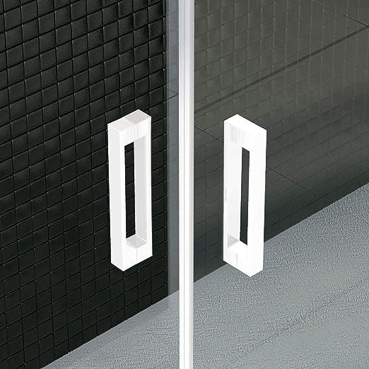 VAROBATH .Mampara de ducha con apertura frontal de puerta corredera, perfil blanco y cristal transparente con 6 mm de grosor. Disponible en varias medidas. (137 a 146): Amazon.es: Bricolaje y herramientas